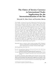 The Choice of Invoice Currency in International Trade Implications for the Internationalizationof th