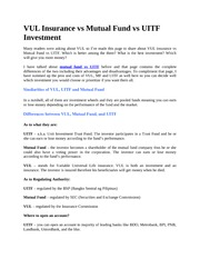 VUL Insurance vs Mutual Fund vs UITF Investment
