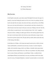 The Taming of the Shrew Plot Overview