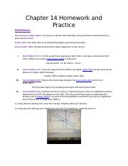 Chapter 14 Homework and Practice