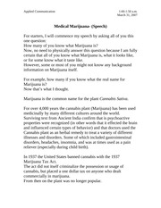 Medical Marijuana speech