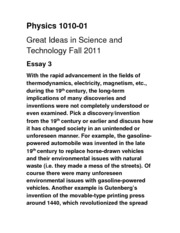 phys great ideas in science and technology tulane 2 pages essay 3 phys 1010