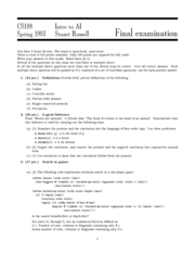 Computer Science 188 - Spring 1993 - Russell - Final Exam