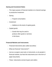 Saving and Investment Notes