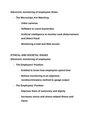 Electronic monitoring of employees Notes