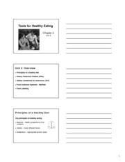 Unit 2 Tools for Healthy Eating Slide Handout