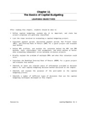 Chapter 11 Capital Budgeting