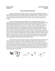 Chemical Bonding Writing Project