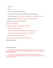In Service Presentation Outline form