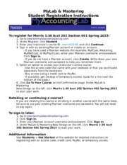 MyAccountingLab Student Registration Instructions Sec 001 130