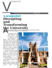 Disrupting and Tansforming the University