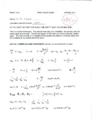 PHYS 1214 first hour exam with answers