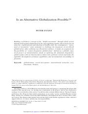 Is An Alternative Globalization Possible