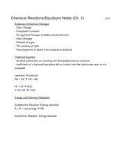 Ch. 7 Chemical Reactions Notes