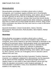 Monoculturalism Research Paper Starter - eNotes