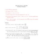 Exam 1 Solution on Calculus III Fall 2010