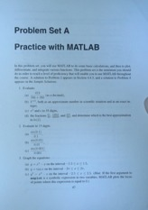 Diff Eq with Matlab - Problem Set A