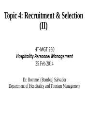 260-Topic 4 Recruitment  Selection Spring 2014 Part 2