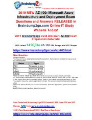 [2019-May-New]Braindump2go AZ-100 Dumps PDF and AZ-100 Dumps VCE Free Share.pdf