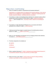 answers to Things to Know Social Psychology 2014