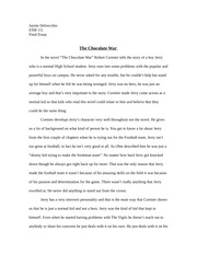 ex basketball player vs to an athlete dying young jayme  3 pages the chocolate war