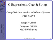 COMP 206 Lecture Week 5 Day 1 - Functions + Expr + Strings