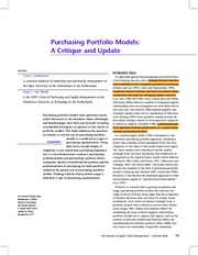 Purchasing Portfolio Models A Critique and Update