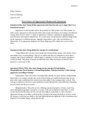 Five Faces of Oppression Homework Questions - Copy.docx