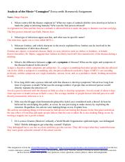 Contagion Questions Doc Analysis Of The Movie Contagion Extra Credit Homework Assignment Name Paige Slayton 1 What Country Did The Disease Originate Course Hero