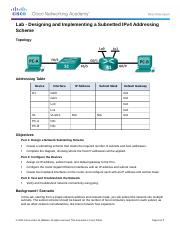 9.2.1.3 Lab - Designing and Implementing a Subnetted IPv4 Addressing Scheme