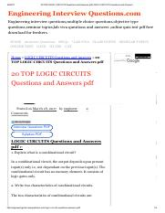 20 TOP LOGIC CIRCUITS Questions and Answers pdf LOGIC CIRCUITS Questions and Answers.pdf