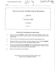 Exam 1, Fall2009 solutions