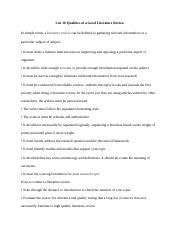 List 10 qualities of a good literature review