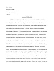 Meditation Paper - Philosophy