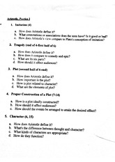 English 309- Aristotle Short Answer Test
