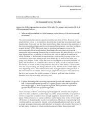 SCI 256 Week 1 Individual Assignment Environmental Science Worksheet.doc