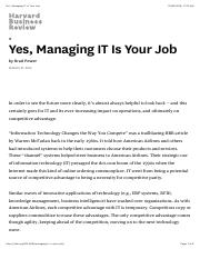 Yes, Managing IT Is Your Job