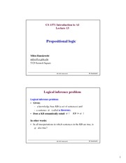 Lecture Notes on Propositional logic Restricted forms First-order logic