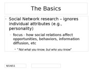Topic 8 Social Networks and Social Capital for BLACKBOARD