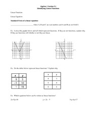 identifying linear functions homework and key