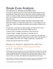 Breakeven Analysis Applications and Uses