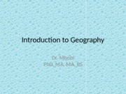 Lecture 1 Introduction to Geography