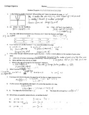 College Algebra 1113 Review for 1.1-1.4 & 2.1, 2.3