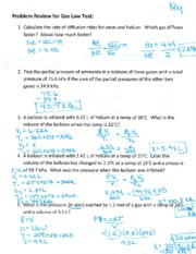 Gas Law Test Problems Review