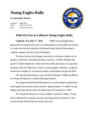 Young Eagles Rally Press Release Template