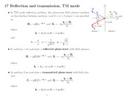 350lect17 - Reflection and transmission, TM mode, Brewster's angle