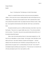 "Rough Draft Essay 1""The Meanings of a Word"" Gloria Naylor"
