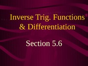 Inverse Trig. Functionsand Differentiation