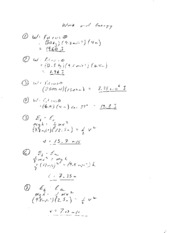 Work and Energy Worksheet 1 Solutions