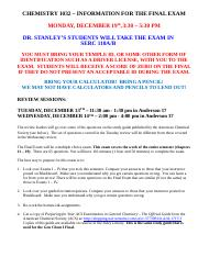 CHEM 1032 - Gen Chem II - Study Guide for Final Exam - FA 2016.docx